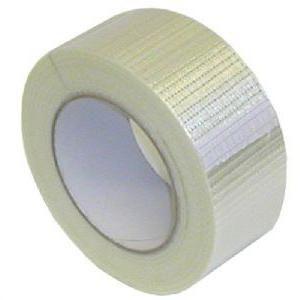 Армированная лента скотч для обвязки грузов, прозрачный, нити вдоль и поперек (квадратиками)