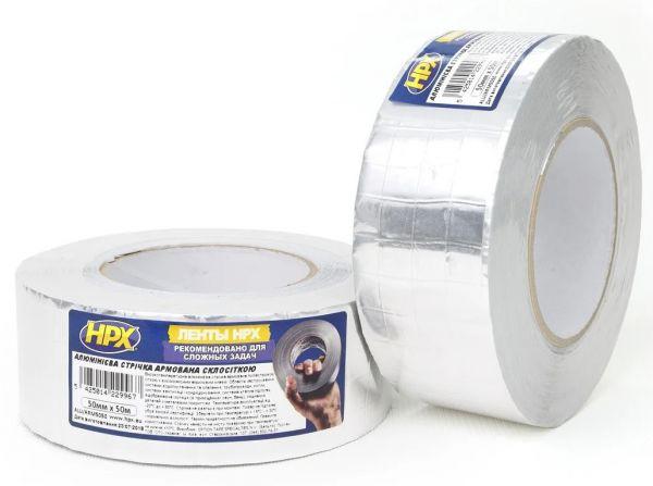 Алюминиевая клейкая лента (скотч) армированная стеклосеткой