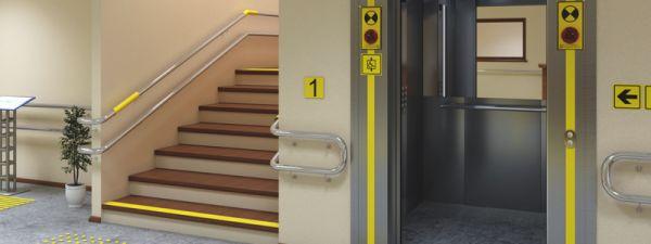 Контрастная желтая лента для маркировки дверей
