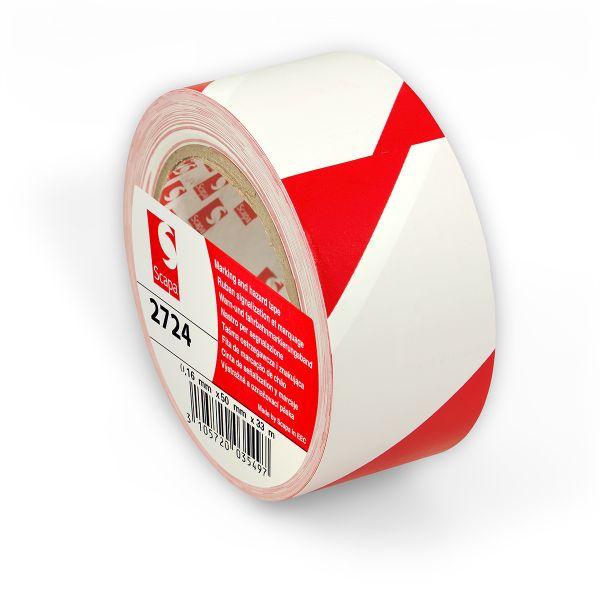 КРАСНО-БЕЛАЯ сигнальная клейкая лента на основе ПВХ для напольной разметки и маркировки Scapa 2724