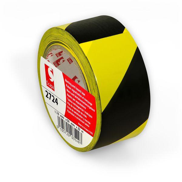 ЖЕЛТО-ЧЕРНАЯ сигнальная клейкая лента на основе ПВХ для напольной разметки и маркировки Scapa 2724