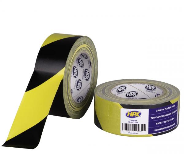 Желто черная армированная клейкая лента (скотч)
